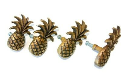 4 small Pineapple handles aged solid Brass PULL knobs kitchens antiques 6cm B 3