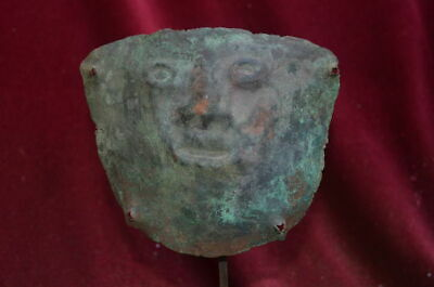 Very rare and nice copper Mummy bundel Mask with human face, Vicus culture Peru 2