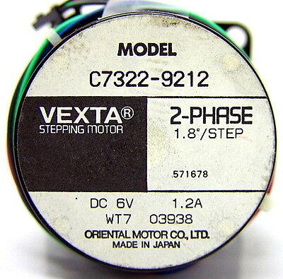 Vexta C7322-9212 2-Phase Stepping Motor 1.8DEG/STEP 6V DC 1.2A WT7 Stepper 2