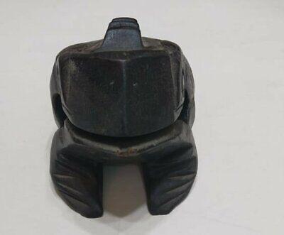 """Vintage Hand Carved Frog Dark Black Wooden Wood Statue Decor Figurine Figure 4"""" 2"""