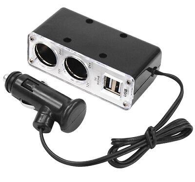 12v 2 Way Car Cigarette Lighter Power Socket Charger Adapter Dual USB Port Twin 2
