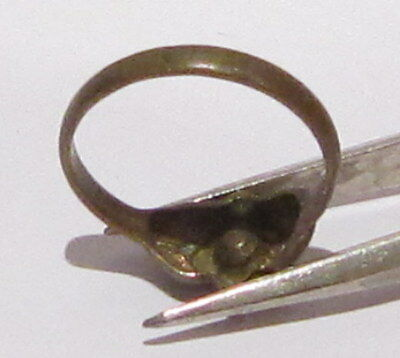 VINTAGE NICE BRONZE RING WITH YELLOW STONE FROM THE EARLY 20th CENTURY # 17B 5