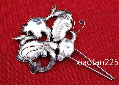 China's Ancient costume Handmade Miao Silver filigree Hairpin Headdress W522