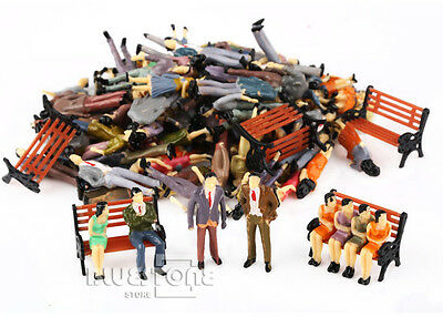 100 Seated Standing Model People Passanger Figures+5 Bench Train Railway Layout 3