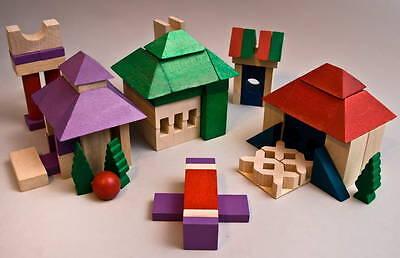 Puzzles & Geduldspiele Holz Bausteine 50 Stück Bauklötze Buchenholz Holzbausteine Steine Bau Klotz bunt