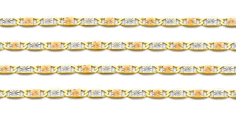 environ 25.40 cm 10K tri couleur or Valentino Bracelet 1.5 Mm Large rose jaune or blanc 10 in