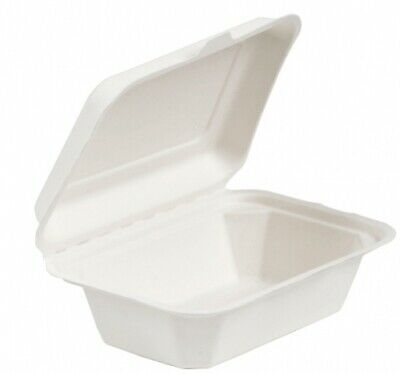"* 7 x 5"" Burger Box Biodegradable Bagasse Sugarcane Food Containers HB9 BIO001K 2"