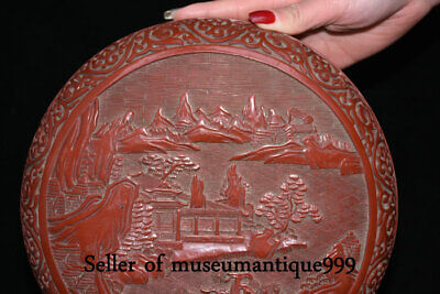 """9.6"""" Marked Old China Red Lacquerware Dynasty Hill River House jewelry Box 4"""