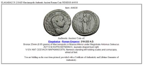 ELAGABALUS 218AD Marcianopolis Authentic Ancient Roman Coin NEMESIS i64938 3