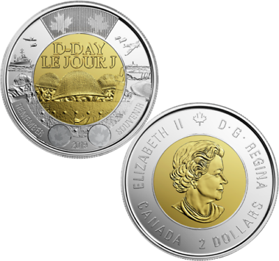 2019 Canada Dday 75th anniversary 1944-2019 $2 NON-COLOURED Toonie from roll 2