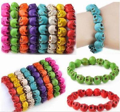Fashion Turquoise Skull bead  Elastic Wristband Punk Rock Alloy Bangle Bracelets 2
