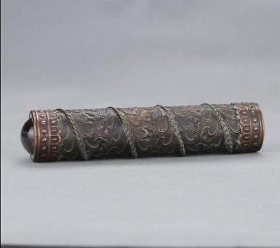 Chinese-antique-carved-flower-and-old-brass-kaleidoscope-High-grade-collectible 3