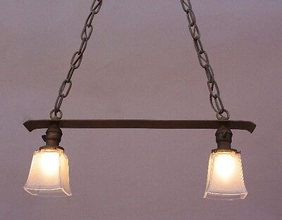 Early 20th Century Copper 2 Light Chandelier Antique Arts & Crafts (9759)