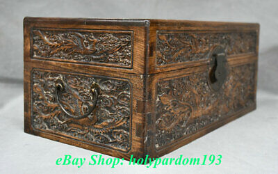 "12"" Old Chinese Huanghuali Wood Carving Palace Dragon Phoenix Jewel Case or Box 6"