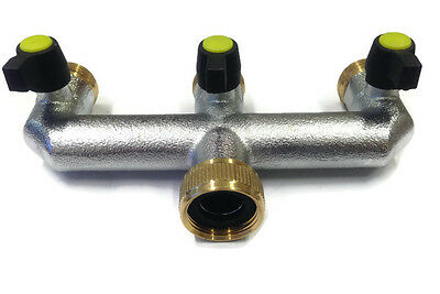 Hose Quick Connectors 3/4 inch BSP Female 3 Way Manifold Connector Male BSP