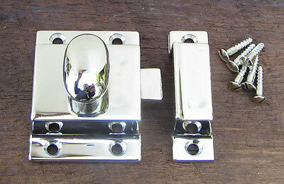 Reproduction Large Solid Brass Cabinet Latch (Polished Nickel) 6
