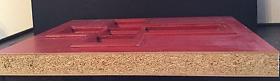 Old Vtg Wood Glass Architectural Cross Church Original Red Paint Door Insert 4