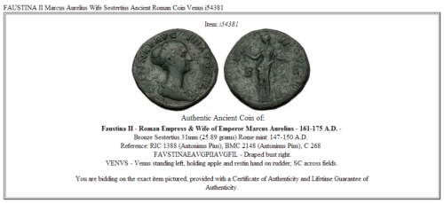 FAUSTINA II Marcus Aurelius Wife Sestertius Ancient Roman Coin Venus i54381 3