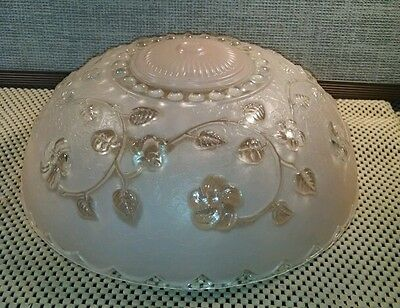 Art Deco Nouveau Chandelier Shade, Pink & Clear Glass, Floral. Victorian!  Nice! 2