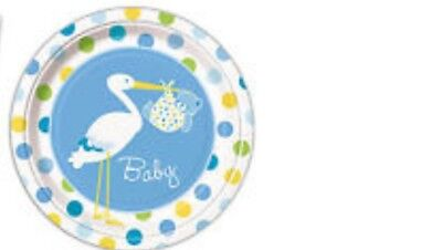 Unique Ind 9 inch Diameter Stork Baby Plates Special Delivery Boy Stork Carrying Baby Baby Shower 8 Plates per pack Made in the USA