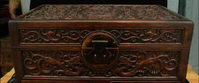 """16"""" China old Huang Huali Wood carving Dragon Beast Storage Jewelry Box Statue 2"""