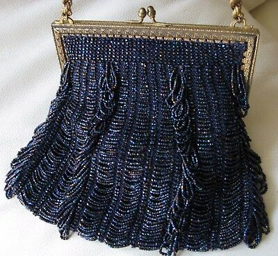 Bright Antique Art Deco Gold T Braided Chain Blue Knit Iridescent Peacock Bead Purse Periods & Styles