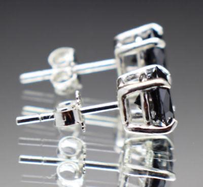 Black Diamond Stud Earrings Women Earrings and Mens Stud Earrings 14k White Gold 3