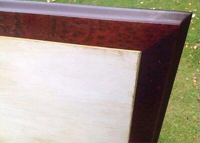 Vintage Grey Painted 5ft double Headboard Art Deco Style Brass Walnut Type Trim. 3
