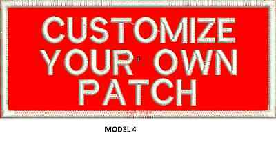 """LOGO CUSTOMIZED EMBROIDED  PATCH   4"""" X 2""""  text only 4"""