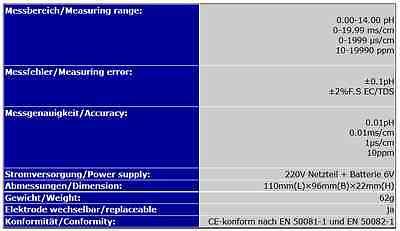 Kombimessgerät Tester Prüfer (Ph & Ec) Leitwert Leitfähigkeit Aquarium Pool P22 5