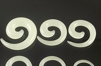 1-PAIR Acrylic White UV Glow In Dark Spiral Ear Tapers Gauges Glows Green