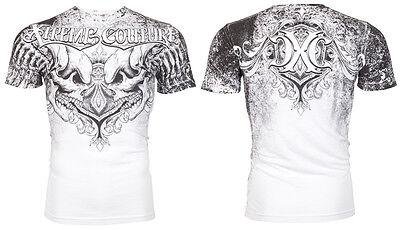 Xtreme Couture AFFLICTION Mens T-Shirt LEGENDARY Skulls WHITE Biker MMA UFC $40 3