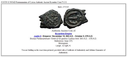 JUSTIN II 565AD Pentanummium of Cyzicus Authentic Ancient Byzantine Coin i71131 3