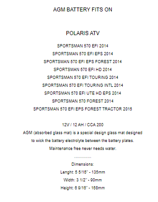 AGM BATTERY Fits POLARIS SPORTSMAN 570 EFI EPS 2014 2015