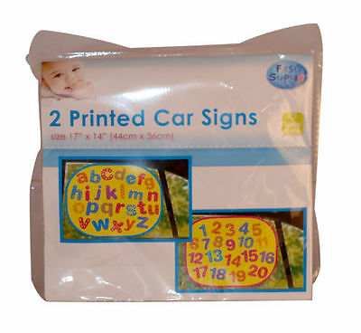 "First Steps 2 /""Letters /& Numbers/"" Car Window Kids Sunshades 44 x 36cm UK"