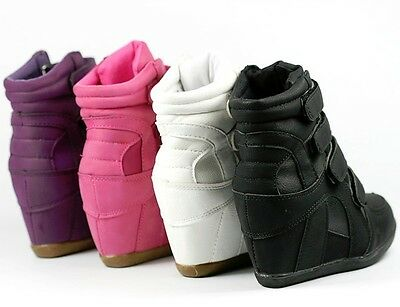 ae45f220f0ee ... Girls Kids High Top Fashion Wedge Sneakers White Fuchsia Pink Purple  Black 2