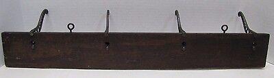 Antique Victorian Cast Iron Four Hanger Rack Wood Mount triple hook 19c architec 10 • CAD $501.75
