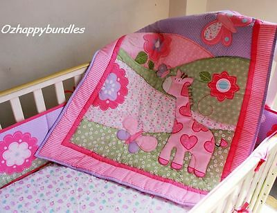 New Baby Girls 7 Pieces Cotton Nursery Bedding Crib Cot Sets-- Pink Giraffe