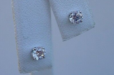.50 Cts Round Diamond Stud Earrings 14K Solid White Gold Made In Usa 4