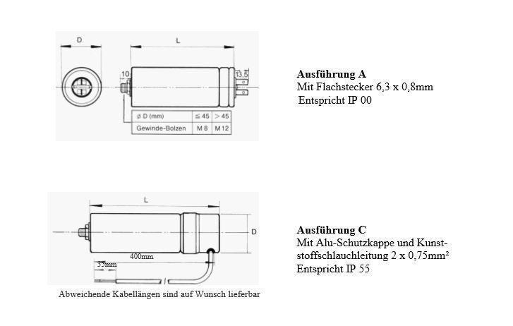 Motorkondensator hochwertiger Ersatz für Bosch und andere Betriebskondensator