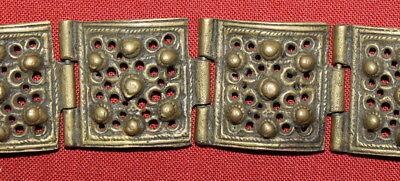 Antique Medieval Greek Handcrafted Bronze Folk Hinged Bracelet