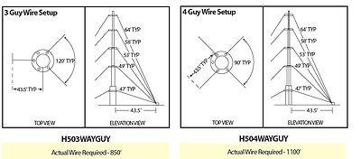 EASY UP EZ-TM-50 44' Telescoping Mast - TV WIFI HAM Antenna - Push Up Pole