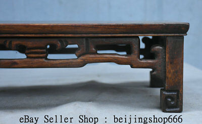"14"" Old Chinese Huanghuali Wood Hand Carved Natural Lines Table Desk Furniture 4"