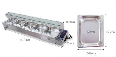 "6 "" Bain-Marie Buffet Steam Table Restaurant Food Warmer 110V High Quality 5 Pan 4"