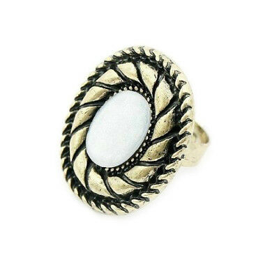 Antique Gold Ring With White Oval Stone Womans Mens Goth Adjustable In Gift Bag 2