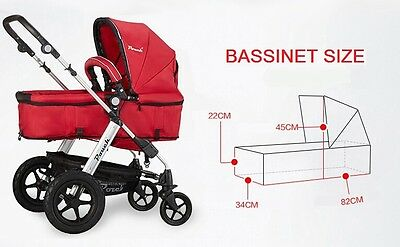 New 2 In 1 Baby Toddler Pram Stroller Jogger Aluminium With Bassinet Black 7