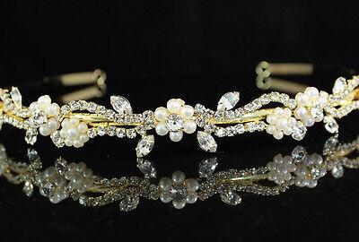 Floral Clear Austrian Rhinestone Crystal Pearl Headband Tiara Bridal -Gold