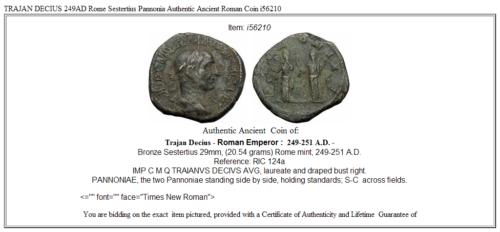 TRAJAN DECIUS 249AD Rome Sestertius Pannonia Authentic Ancient Roman Coin i56210 3