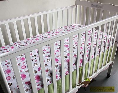 New Baby Girls 7 Pieces Cotton Nursery Bedding Crib Cot Sets-Pink Jungle Animals