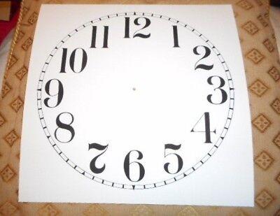 "Large Paper Clock Dial - 9"" M/T- Arabic- Matt White- Face/ Clock Parts/Spares"
